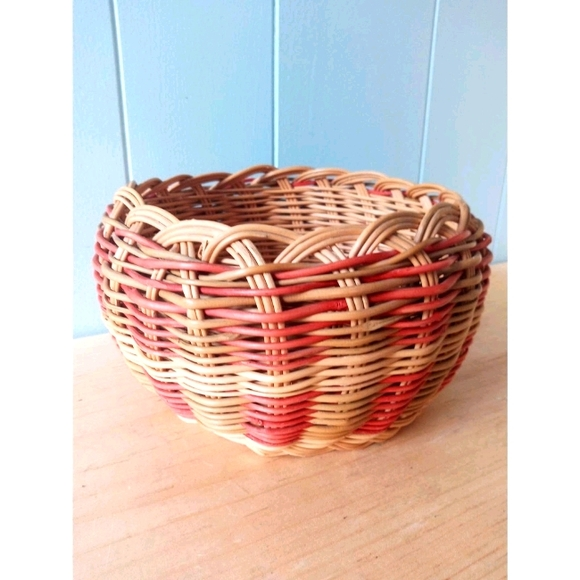 Woven Circular Basket Two Tone Red Decorative